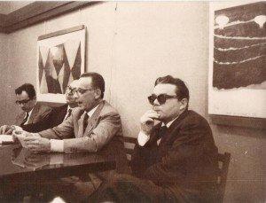 """Elio Pagliarani (primo a destra) durante una presentazione de """"La Ragazza Carla"""""""
