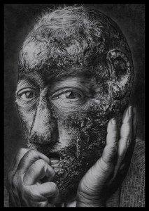 """Merrick e il dolore, 2011, collezione """"Los Olvidados"""", matita grassa su carta"""