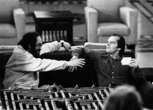Stanley Kubrick e Jack Nicholson sul set di Shining, 1980