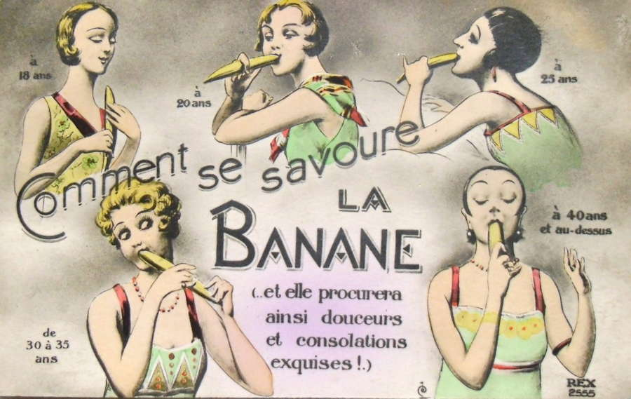 French postcard banana
