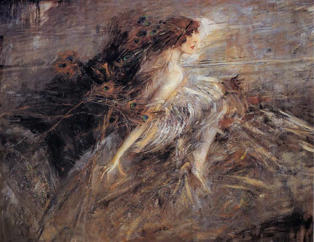 Giovanni Boldini, La marchesa Luisa Casati con penne di pavone, 1914, olio su tela, 136 x 186 cm.