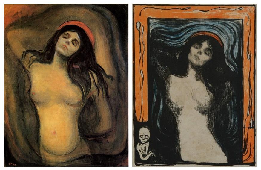 "A sinistra: Edvard Munch, ""Madonna"", 1894-85, olio su tela, 91×70,5 cm, Munch Museum ©, Oslo. A destra: Edvard Munch, ""Madonna"", 1896, litografia, 60,5 x 44,7 cm, Munch Museum ©, Oslo."