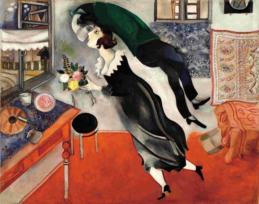 Compleanno, Marc Chagall, 1915, olio su cartone, Museum of Modern Art, New York