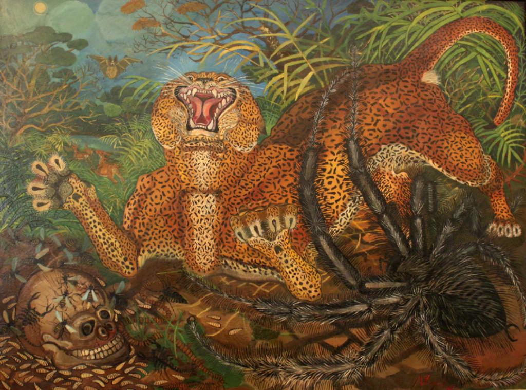 Tigre con serpente, Antonio Ligabue, olio su faesite