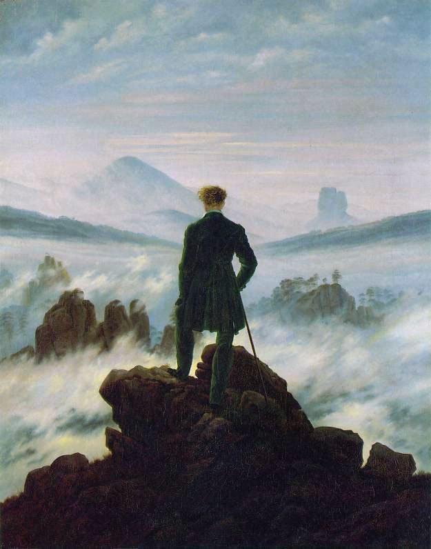 Il viandante sul mare di nebbia Friedrich caspar david