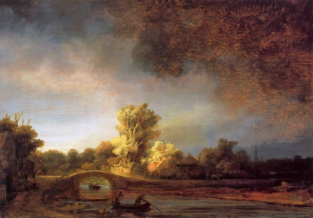 Rembrandt, paesaggio con ponte di pietra