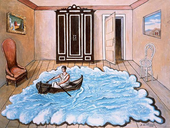 """""""Il ritorno di UIisse"""", Giorgio De Chirico, olio su tela, cm 59.5x80, 1968.  fondazionedechirico.com"""