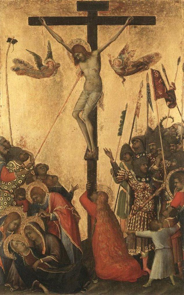 SIMONE MARTINI, Crocifissione (dal Polittico Orsini), 24,5x15,5, tempera su tavola, 1333 ca., Anversa, Musée des Beaux Arts