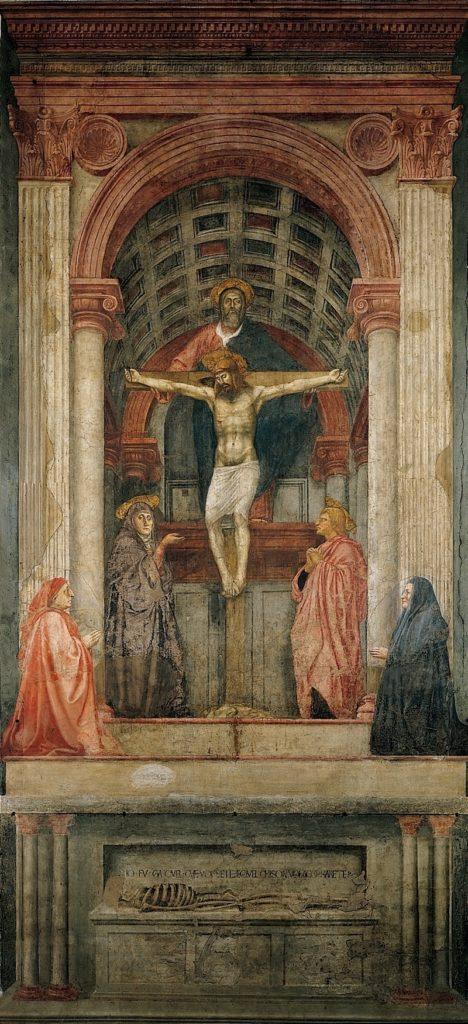 MASACCIO, Trinità, 317x667, affresco, 1427-28, Firenze, Santa Maria Novella